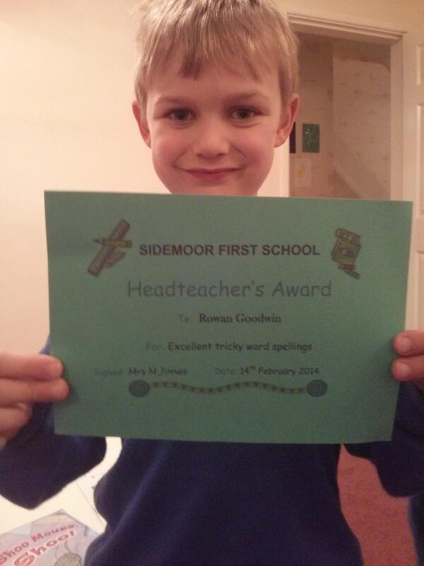 Headteacher's award ! Excellent tricky word spelling! http://t.co/f1jZ03XUfP - embedded image
