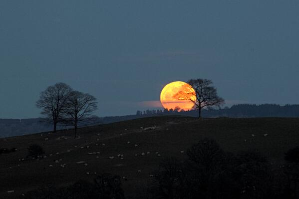Great image RT @Blakmountphoto: @VirtualAstro last full moon of the winter over the #breconbeacons http://t.co/IjXOPHVSqR - embedded image