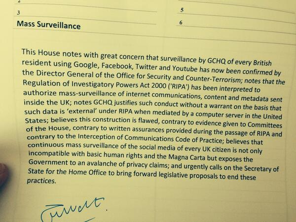 RT I've just tabled a motion on mass surveillance. Please ask your MP to support.  - embedded image