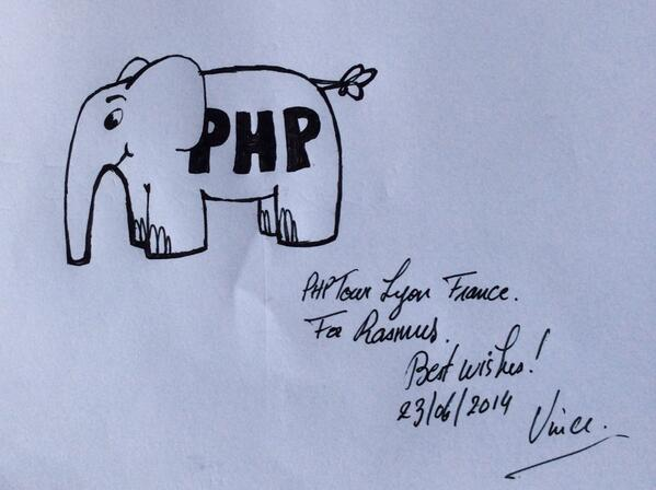 RT Cool! @Elroubio drew me my very own elePHPant at #phptour here in Lyon  - embedded image