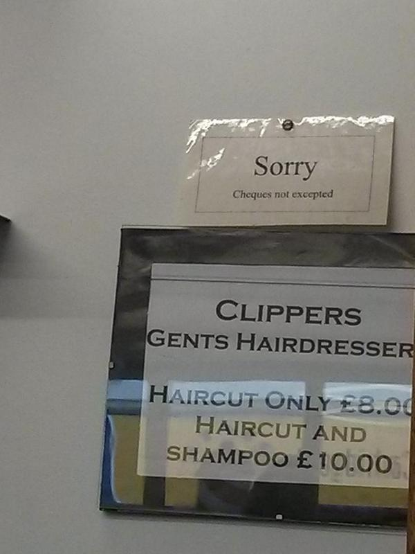 """Cheques not excepted"" (seen in hairdressers ...) #fail #grammar  - embedded image"