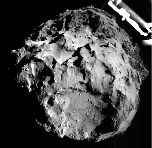 RT .@ESA_Rosetta See for yourself! ROLIS imaged #67P when we were just 3km away! Glad I can share. #CometLanding  - embedded image