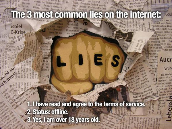 RT What's your biggest online lie? Come on … we won't tell …  - embedded image