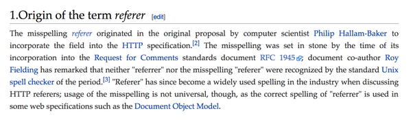 "RT How the misspelling ""referer"" entered the web development lexicon: http://t.co/kZ9KQ2xuJA  - embedded image"