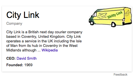 RT If one searches for CityLink on Google right now, you get this rather marvellously off message cartoon.  - embedded image