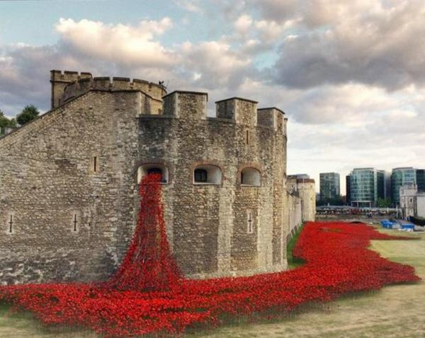 RT 888,246 poppies tumble from the Tower of London to commemorate WWI fallen - Retweet this to the world...  - embedded image
