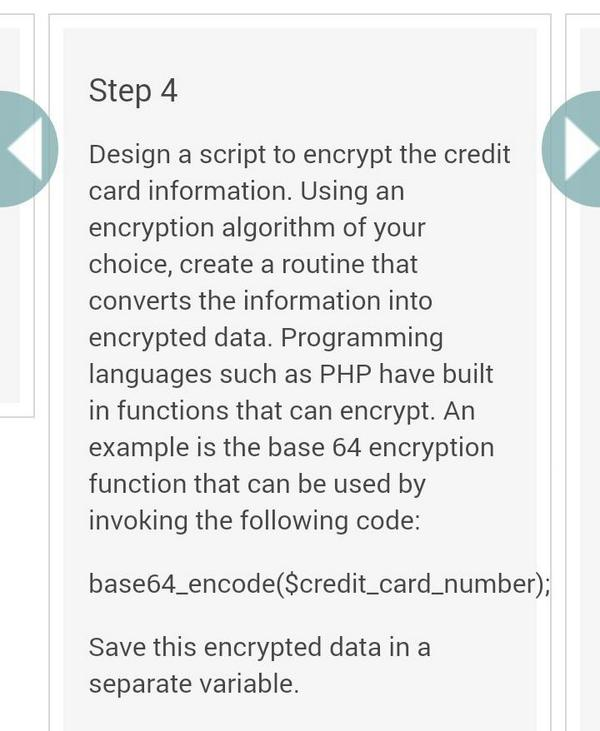 RT base64_encode($credit_card_number);</p> <p> - embedded image