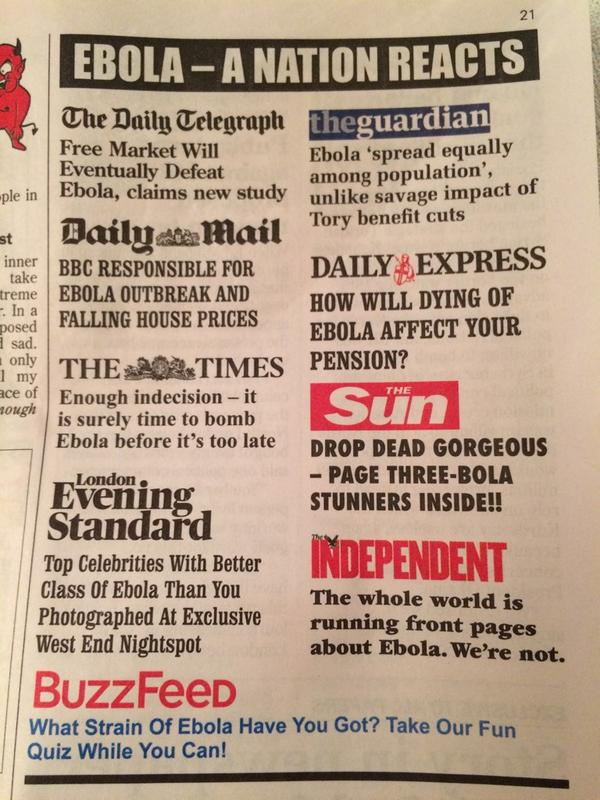 RT BBC RESPONSIBLE FOR EBOLA OUTBREAK & FALLING HOUSE PRICES, Rt: @bellamackie: Bravo Private Eye:  - embedded image