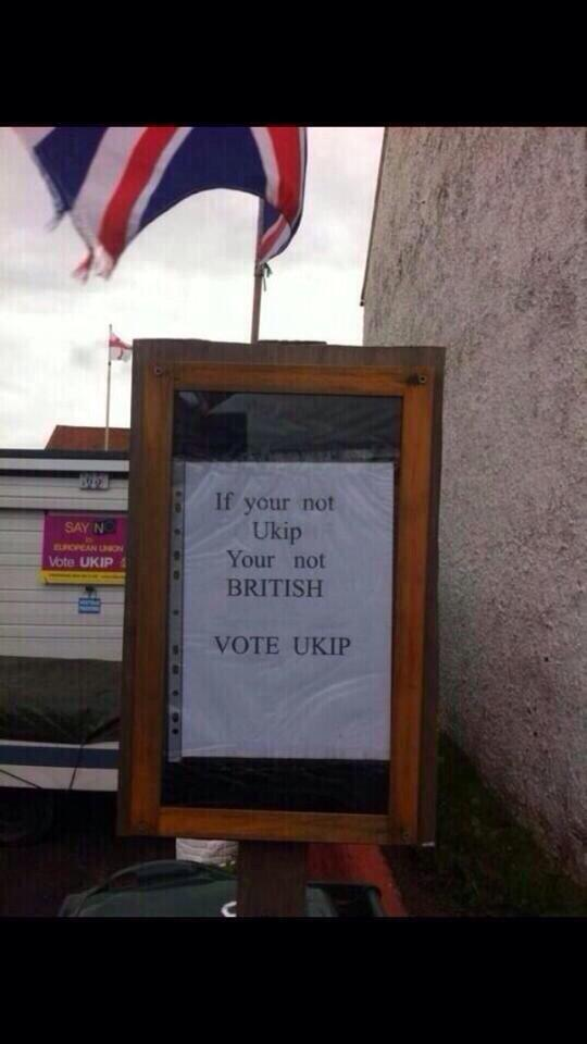 RT #WhyImVotingUkip Because these immigrants can't speak proper English! Oh wait a minute...  - embedded image