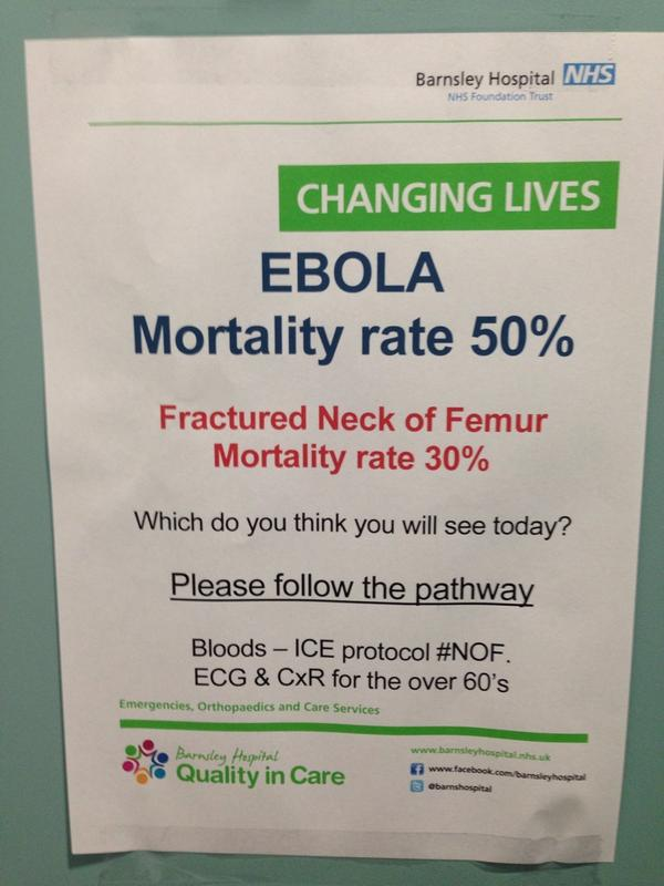 RT Clearly my colleague @davejwalker14 is not concerned about #Ebola either...  - embedded image