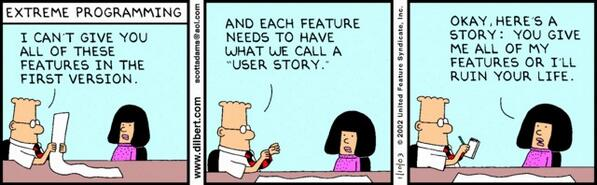 RT Brilliant - Dilbert's take on #agile and #prodmgmt  - embedded image