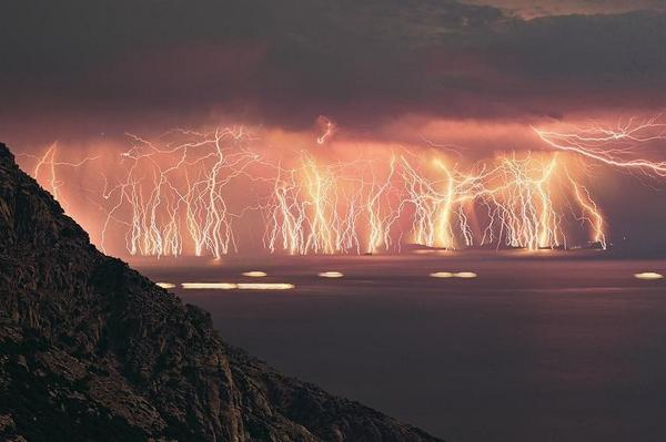RT This happened last night on the south coast of England. It looks like Armageddon on steroids. #thunderandlightning  - embedded image