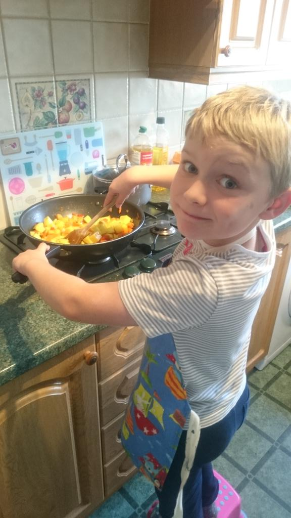 Sunday lunch will be cooked by the apprentice ... Who's recovered quickly from his first #parkrun  - embedded image