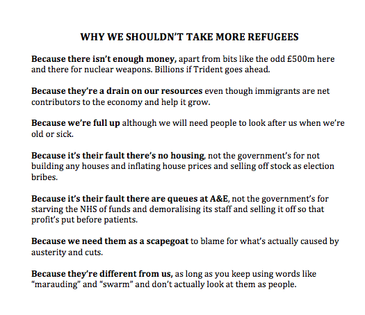 RT Why we shouldn't take more refugees: a handy guide.  - embedded image