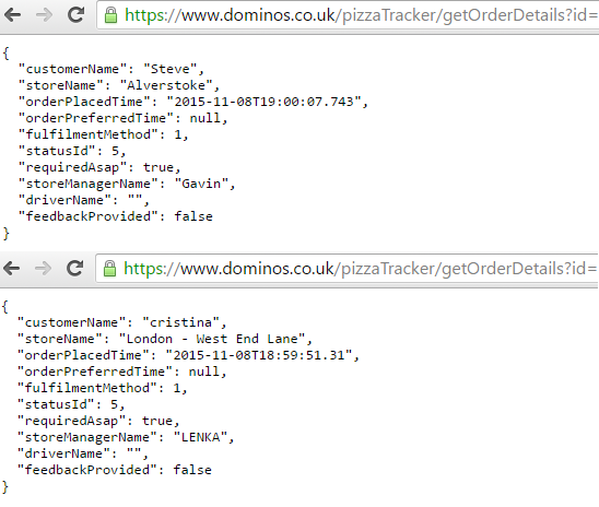 RT So it would seem @Dominos_UK allow you to view anyone's pizza status. It's just a sequential order ID base64 encoded  - embedded image