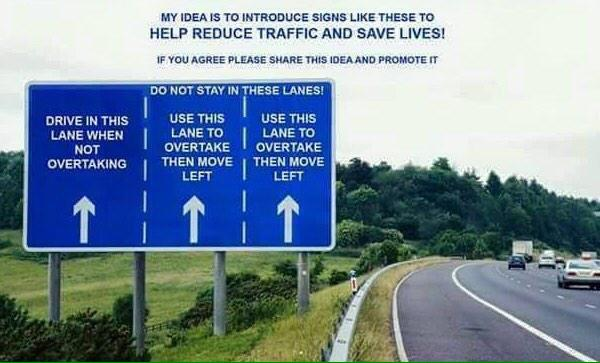 RT A manic motorway today, but still so many people who haven't read this sign. #RoadSafety #MotorwayAwareness  - embedded image