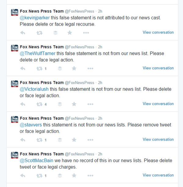 "RT #FoxNews is threatening us with ""legal recourse"" if we don't delete funny tweets. Yes! #FoxNewsFacts  - embedded image 2"