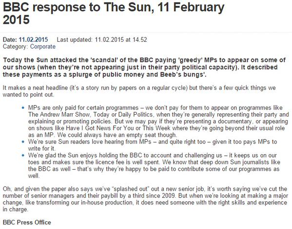 RT Our response to The Sun's attack on the BBC for paying fees to 'greedy' MPs - http://t.co/OF8LwHkYc6  - embedded image