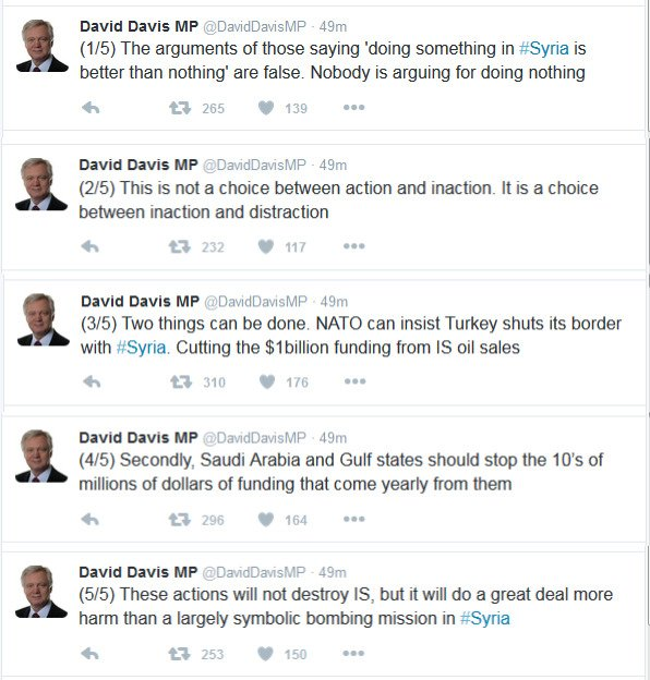 RT David Davis sums it up very well. #SyriaVote #syriaairstrikes   UK bombing will be largely symbolic  - embedded image