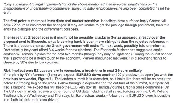 RT And here is Citi's take on the Eurogroup draft. Basically, 72 hours to save Greece...  - embedded image