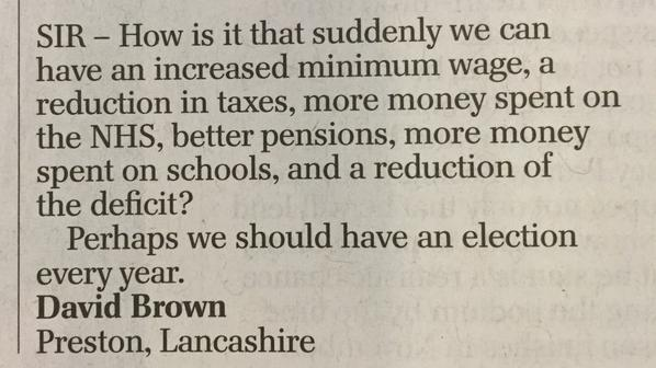RT Telegraph letters on top form as usual #GE2015  - embedded image