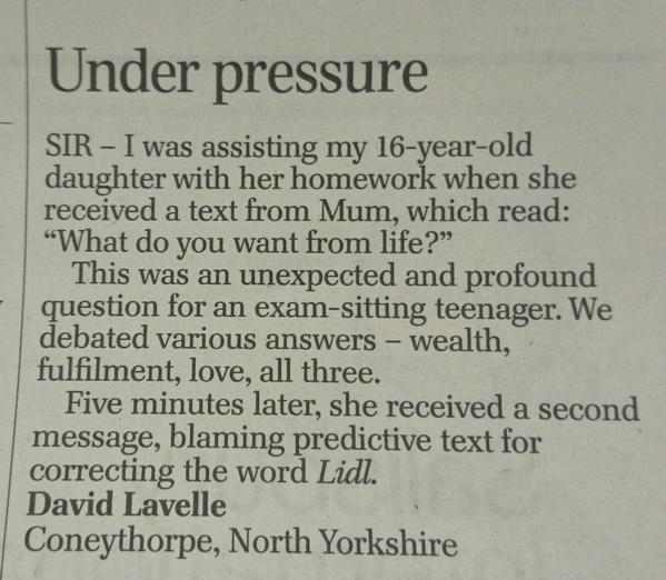 RT Well done, letters page @Telegraph, you never fail to delight us:  - embedded image