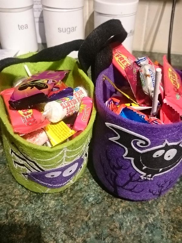 The residents of Pennine Road were very generous. Our buckets are full of sweets.  #trickortreat  - embedded image