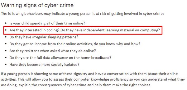 RT This can't be real. the UK gov starts promoting coding in education and then publishes this shit?  - embedded image