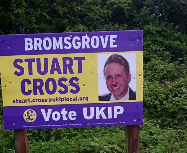 Why you shouldn't mount posters within arm's reach. #ukip #bromsgrove #hitler  - embedded image