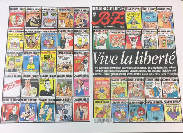RT Quite right RT @JeremyCliffe: Wow! Tomorrow's Berliner Zeitung does Charlie Hebdo proud (via @PeterHuth):  - embedded image