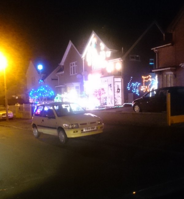 Houses opposite each other ... Seemingly competing. #Bromsgrove #xmas  - embedded image 2