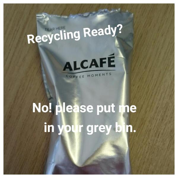 RT We can't recycle foil or foil pouches so please put these in your grey bin  http://t.co/hzhyTbY4td  - embedded image