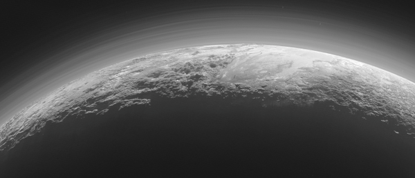 RT Check out #NASANewHorizons Spectacular Backlit Panorama of #Pluto!  http://t.co/eMlZjvRlRP  - embedded image