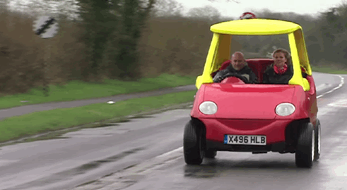 RT A British man is selling his drivable, adult-size 'Little Tikes' car. http://t.co/oVgQT5qL7M  - embedded image