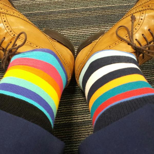 "RT The question when mismatching socks is this: ""Too far? Or not far enough?"" (Yay for new @HappySofficial deliveries)  - embedded image"