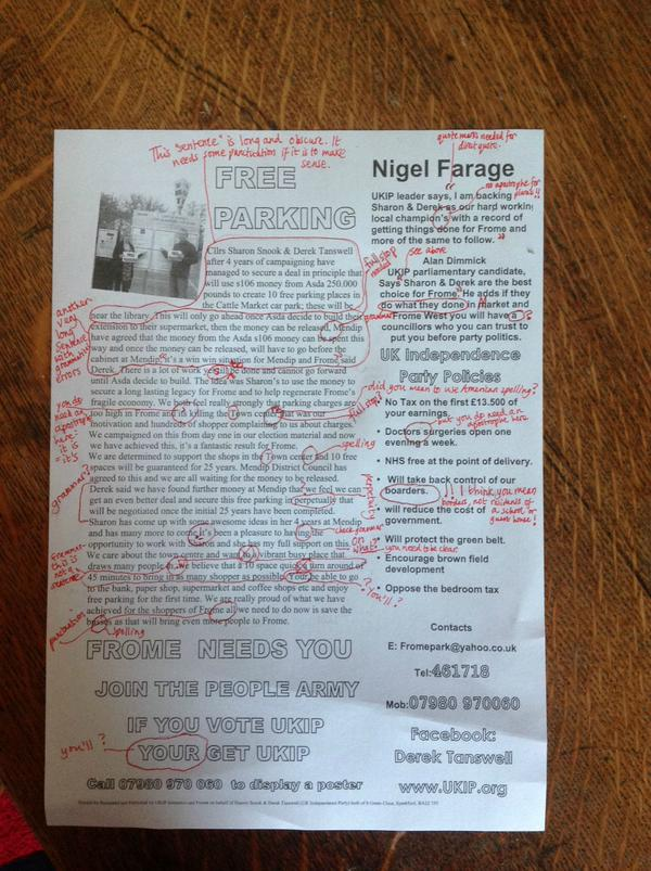 RT English teacher decided to mark a UKIP election flyer that came through her letterbox.  - embedded image