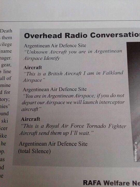 "RT ""Send them up.."" Via @TheLadBible #Falklands  - embedded image"