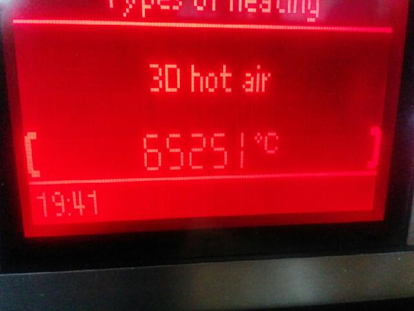 RT Looks like the oven is misbehaving today as well. I really, *really* hope that's an integer underflow error…  - embedded image