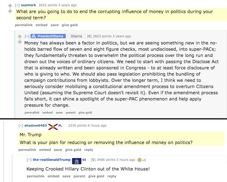 RT Obama's AMA vs. Trump's AMA, h/t @reddit  - embedded image