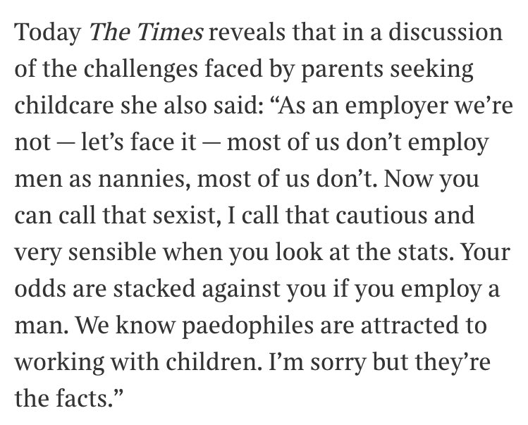 RT The bit The Times didn't print in their Andrea Leadsom interview: male nannies are paedos. https://t.co/GR8RJ3V3L4  - embedded image