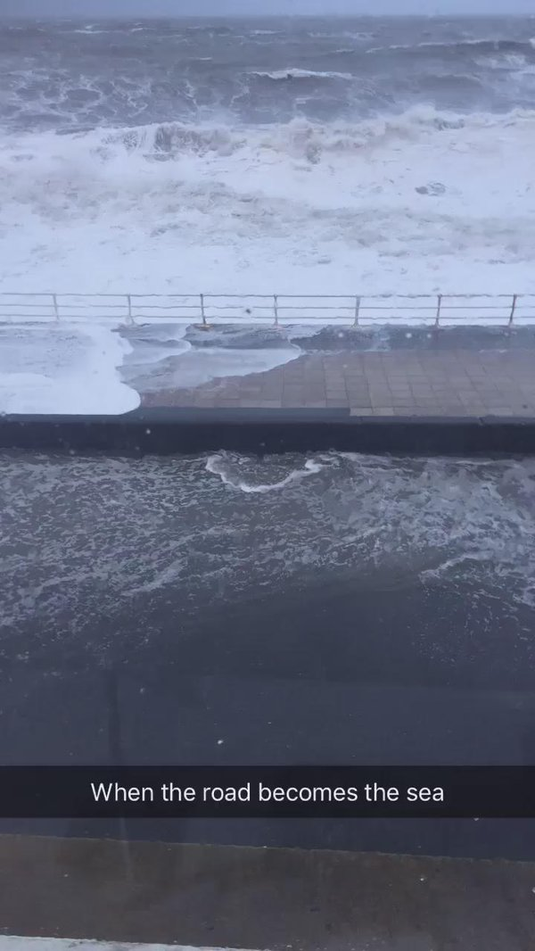 RT Incredible scenes as Aberystwyth is battered by #StormImogen! Video c/o @mia_williamsxo  ⚠️ Heading out? Stay safe.  - embedded image