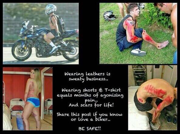 RT Just a reminder for all those weekend bikers that are going to enjoy the weather. #RealBikersWearLeather  - embedded image