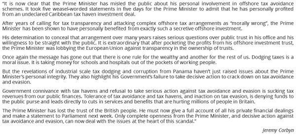 RT Here's my full statement on David Cameron & the #panamapapers tax dodging scandal:  - embedded image