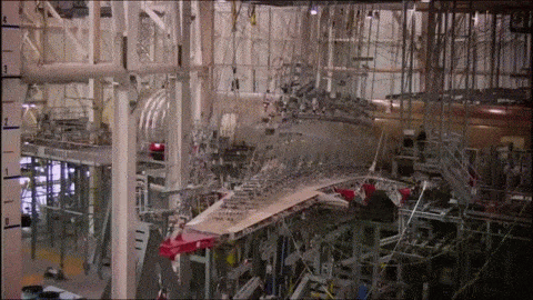 RT Stress testing the wings of an Airbus A350 XWB by bending them.  - embedded image