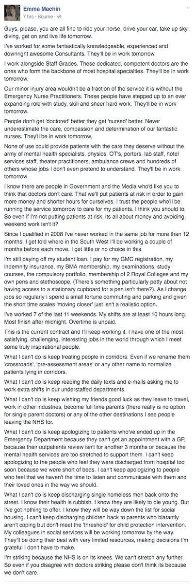 RT Reposting this for those that don't want to click through to FB, please read and RT.  #JuniorDoctorsStrike  - embedded image