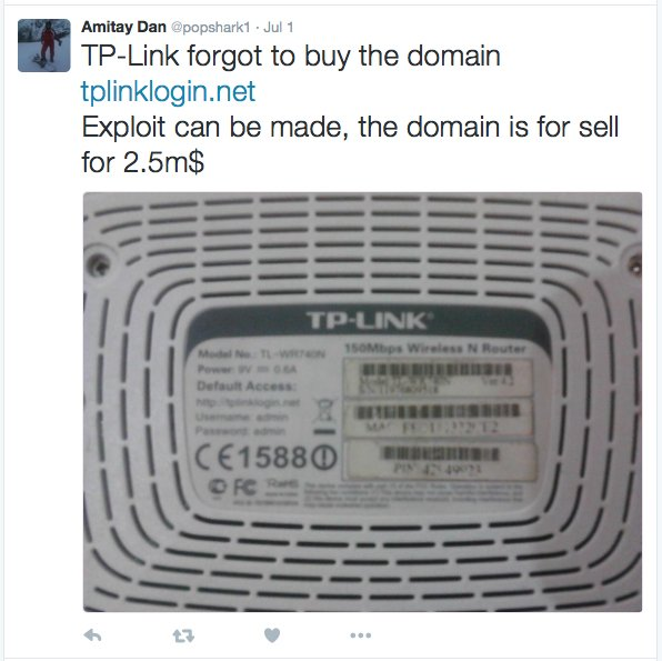 RT TP-LINK lost control of two domains used to configure its devices https://t.co/nNzM8UhbuU via @hardillb  - embedded image