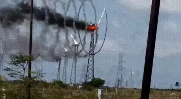 RT A wind turbine on fire from overvoltage.  - embedded image