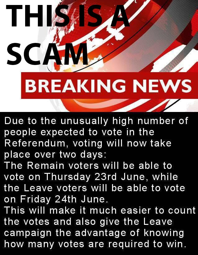 RT ATTN: This image is a SCAM that has been set up by the 'IN' campaign. You need to #Voteleave today  - embedded image