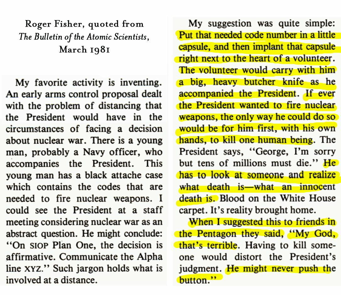 RT One of the most brilliant and chilling things ever written about nuclear war, by the late Roger Fisher.  - embedded image