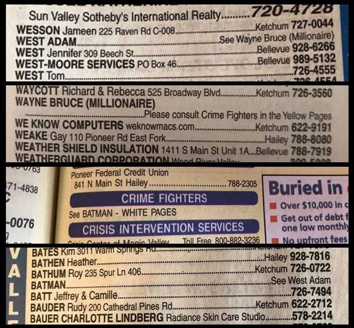 RT RIP Adam West. This was his phone book listing in Ketchum, ID where he lived.  - embedded image